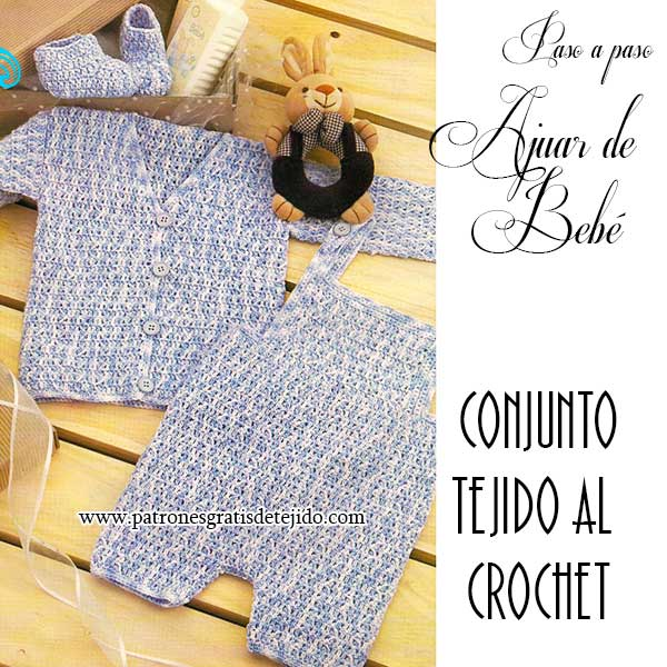 Kit de bebé de tres piezas para tejer al crochet: saco, pantalón y patucos