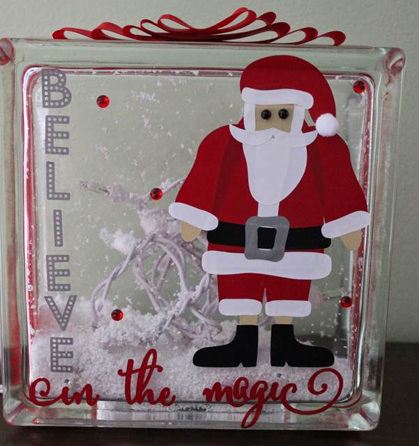 Santa Decorated Glass Block by Anita Mulcahey Guest Designer for 17turtles Digital Cut Files
