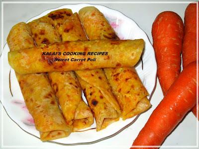 Carrot Poli | Sweet Carrot Stuffed Boli | Sweet Carrot Puran boli | கேரட் போளி