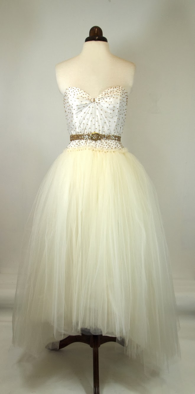 ivory beaded tulle dress