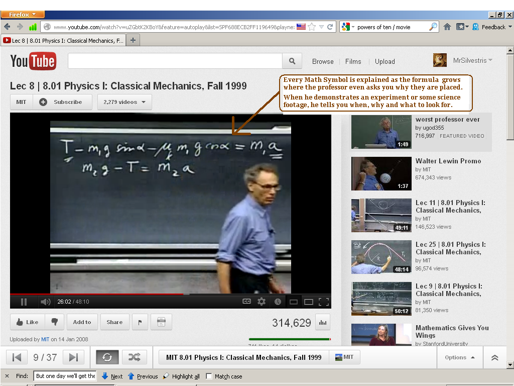 Lewin explaining Newtonian Mechanics