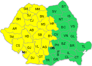 Cod galben de ploi pentru vestul țării