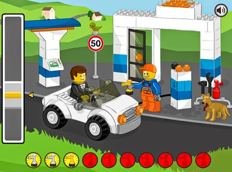 LEGO Gas Station / Petrol Station... One-button, one-switch game.