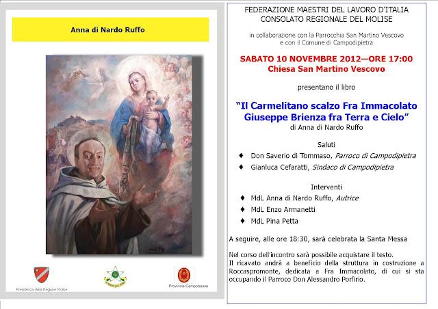 """CAMPOBASSO """"FRA IMMACOLATO"""" Presentazione del volume a Campodipietra."""