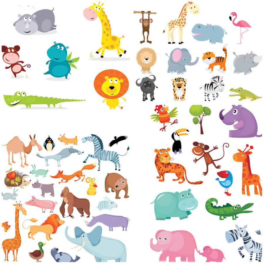 面白い漫画の動物 funny cartoon animals illustrations イラスト素材