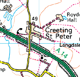A map of Creeting St Peter
