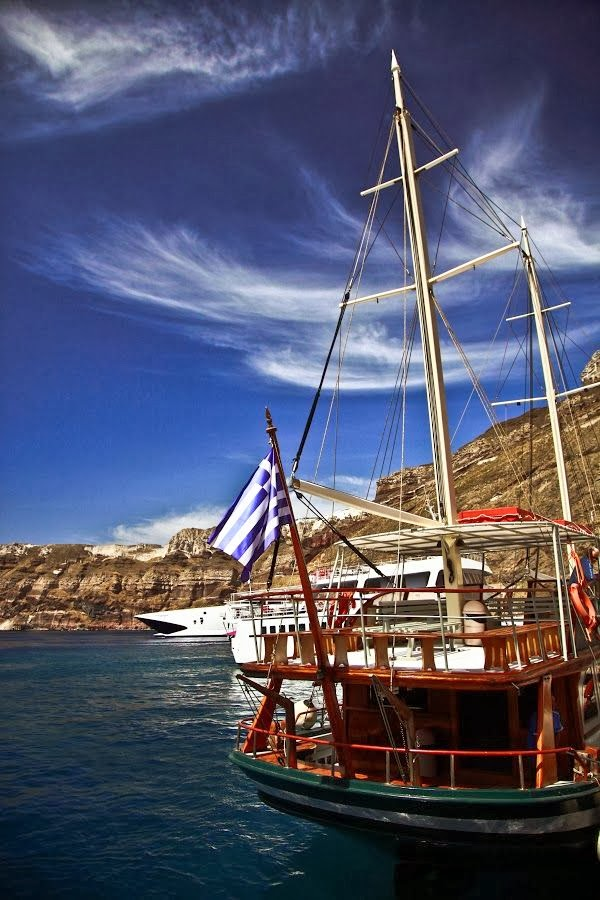 Boats in the Santorini Caldera