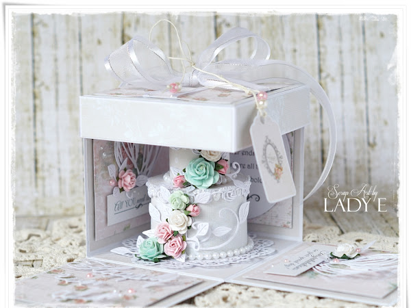 Tort Weselny / Shabby Wedding Cake In Exploding Box - Studio75 DT