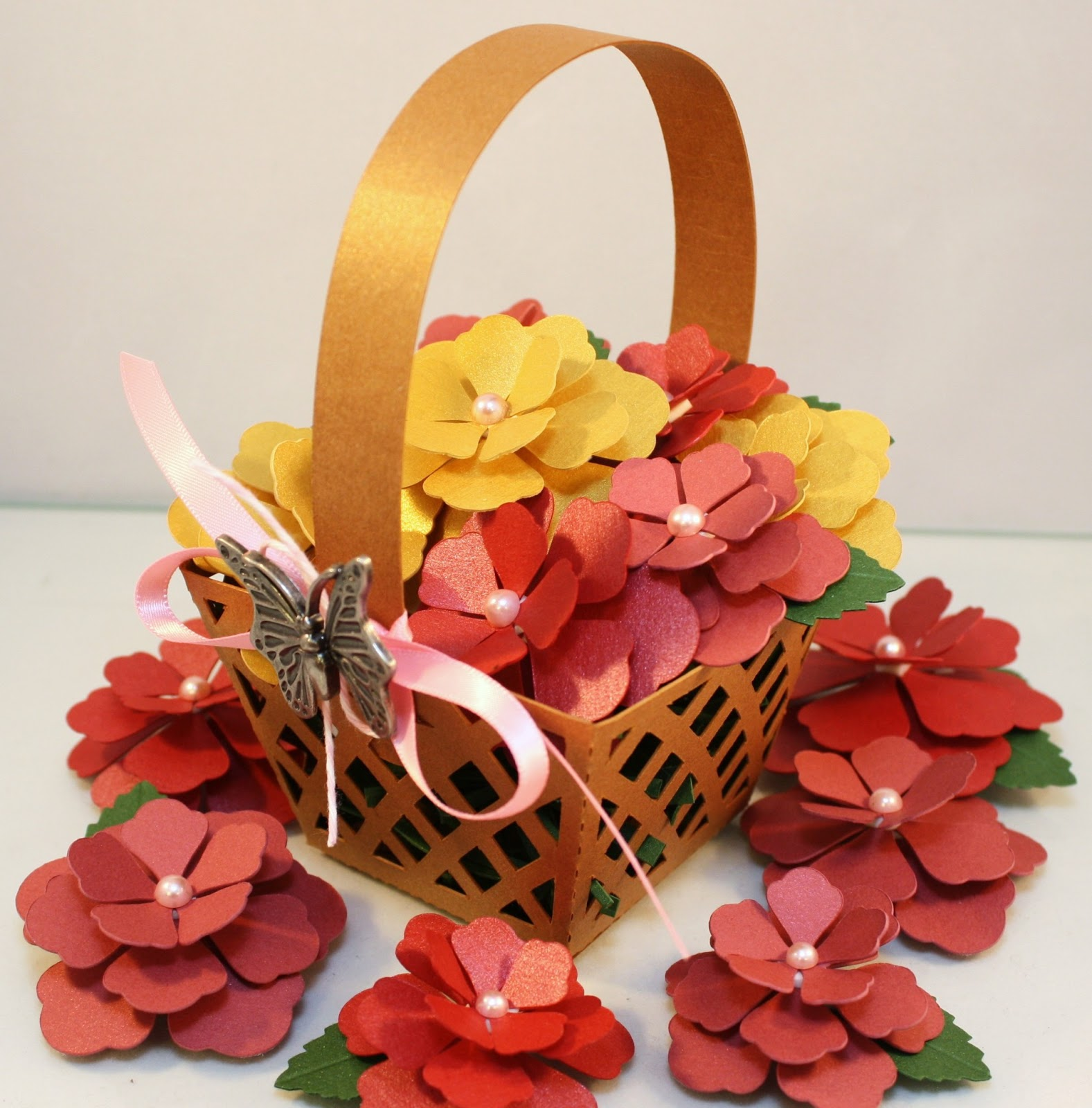 How To Make Flower Basket With Chart Paper : Bits of paper basket flowers