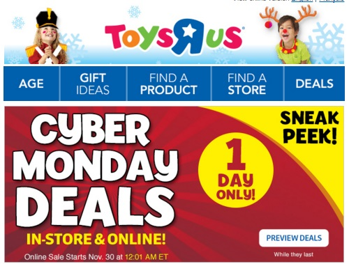 Toys R Us Sneak Peek Flyer Cyber Monday Deals