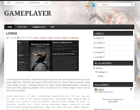 Game Player Blogger Theme