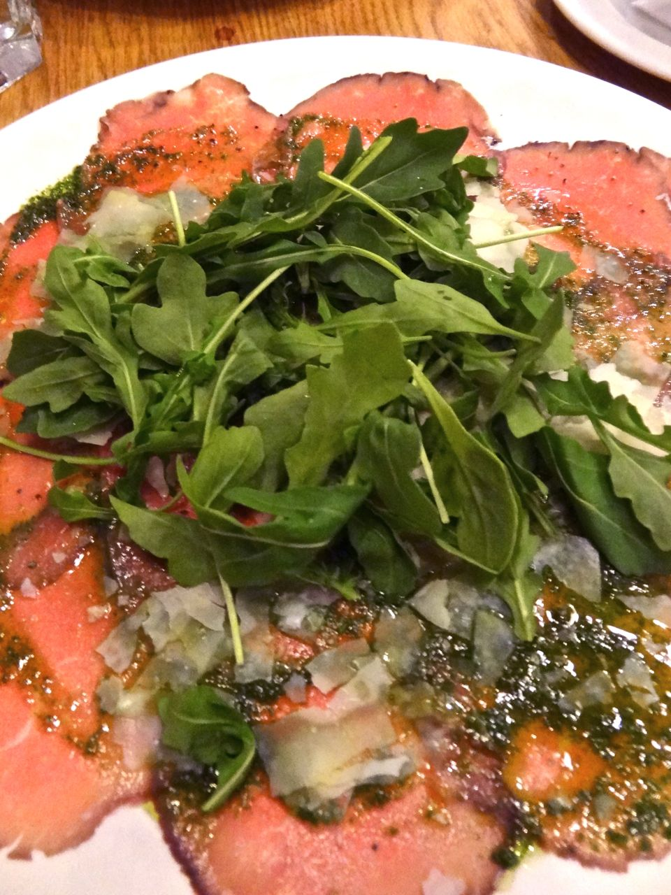 And after...the carpaccio needed a tangle of wild arugula on top...and ...