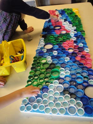 Lines from the art room kindergarten bottle cap mural for Bottle cap mural tutorial