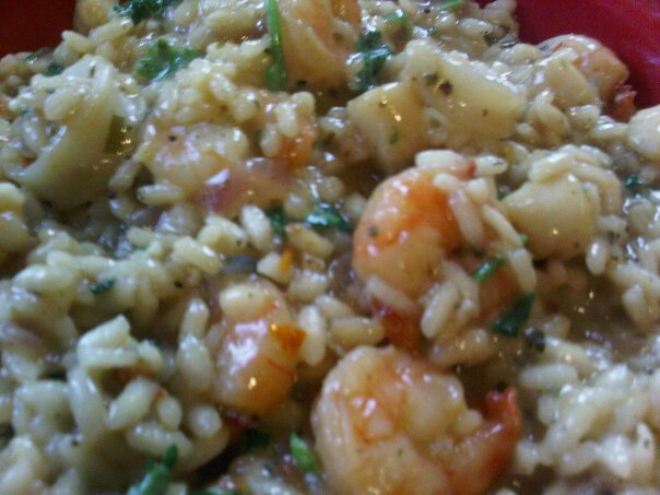 baby spinach and basil fresh pea risotto with spicy grilled shrimp ...