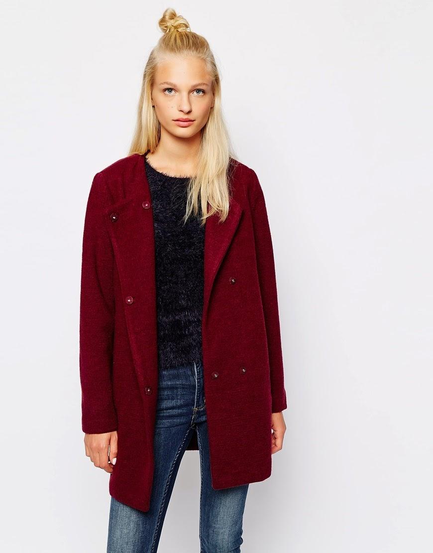 collarless red coat