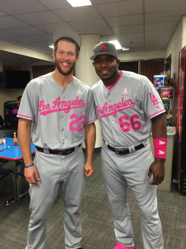 There was nothing but pink all day. Featured above are Clayton Kershaw and  Yasiel Puig in their Dodgers pink Mother s Day uniforms prior to the start  of ... cd5f61fa57f