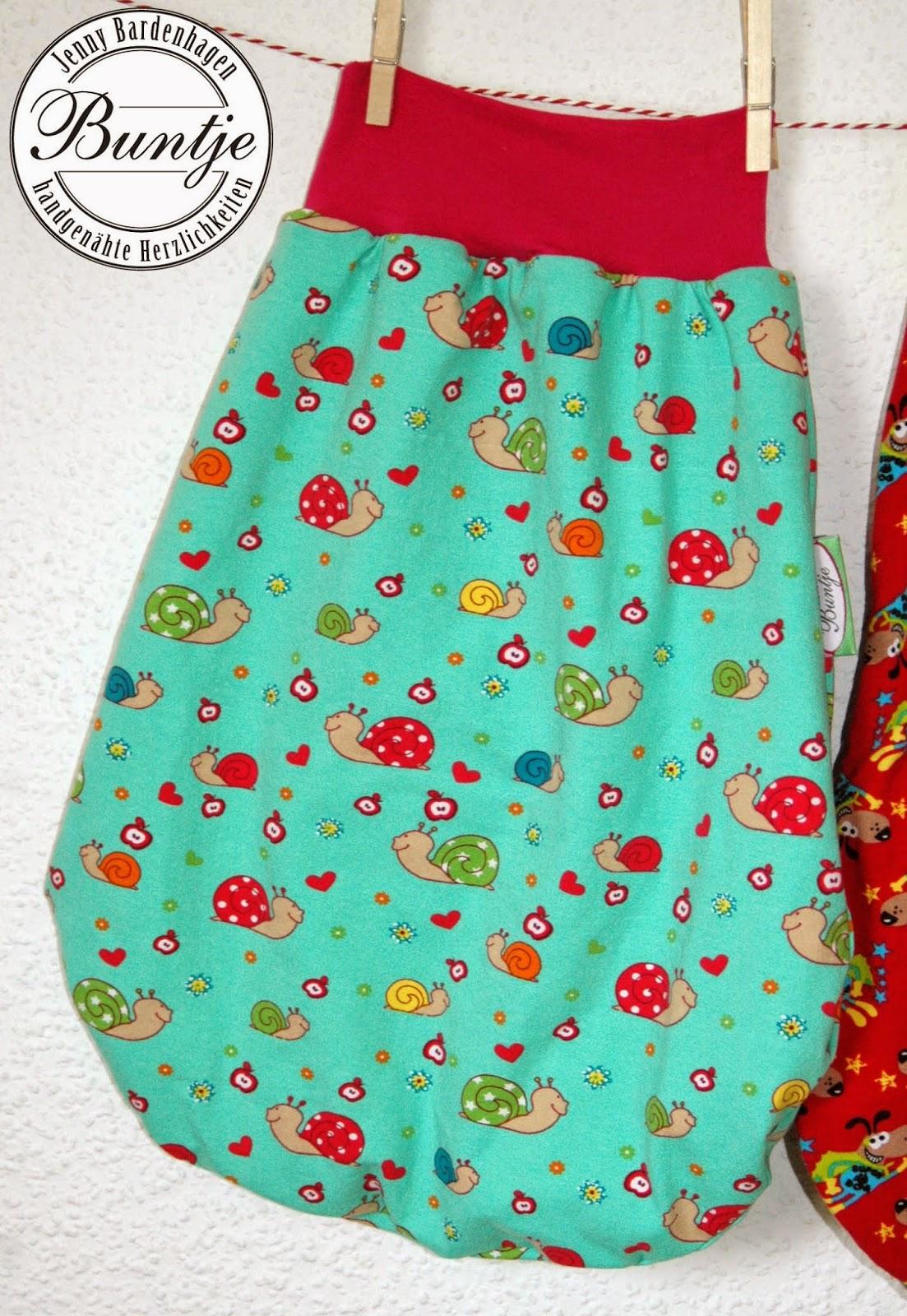 Pucksack Kuschelsack Strampelsack Baby Geschenk Geburt Taufe Baumwolle gefüttert Farbenmix Jersey handmade nähen Buntje individuell Mädchen mint pink Schnecken Tiere