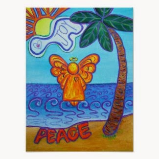 Beach Angel Art Poster