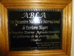 Placa del 1ª Encuentro Nacional e Internacional de escritores Blogers