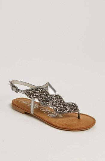 White Flat Sandals With Ornament