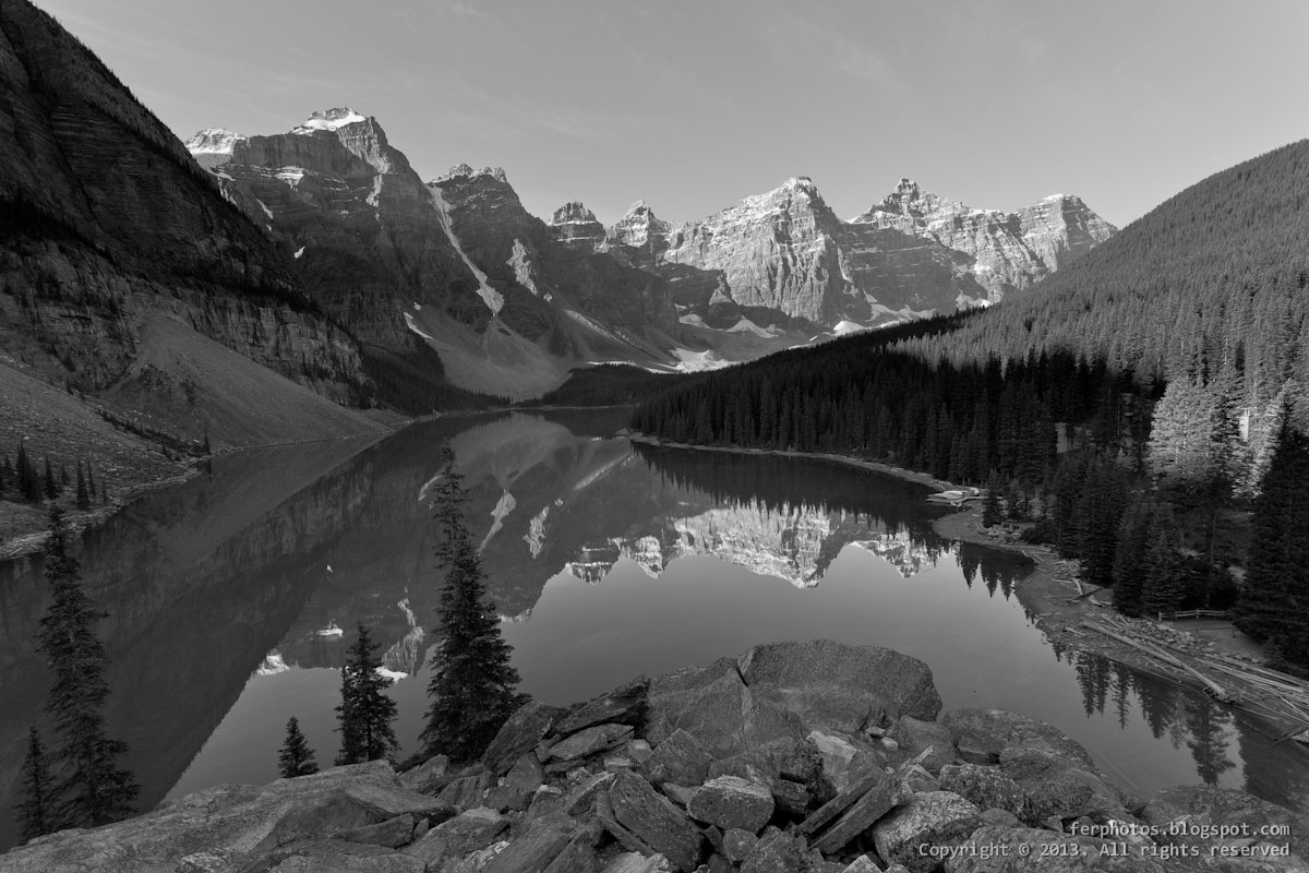 Moraine Lake Banff National Park Canada Alberta black and white bw glacier
