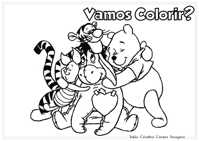 Desenho de Dia do Amigo para colorir - Turma do Pooh
