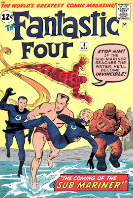 Fantastic Four #4, the Fantastic Four chase after the Sub-Mariner as he runs away with Sue Storm the Invisible Girl in his arms, Jack Kirby cover