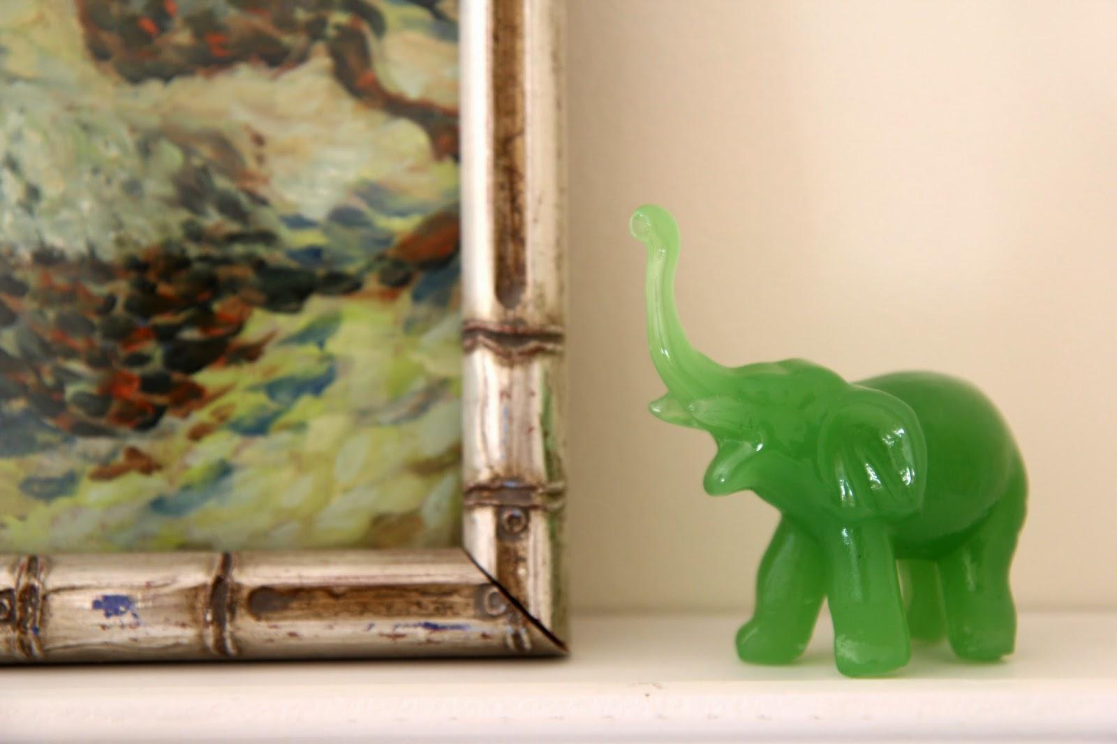 St. Patrick's Day Vignette Green Jade Elephant