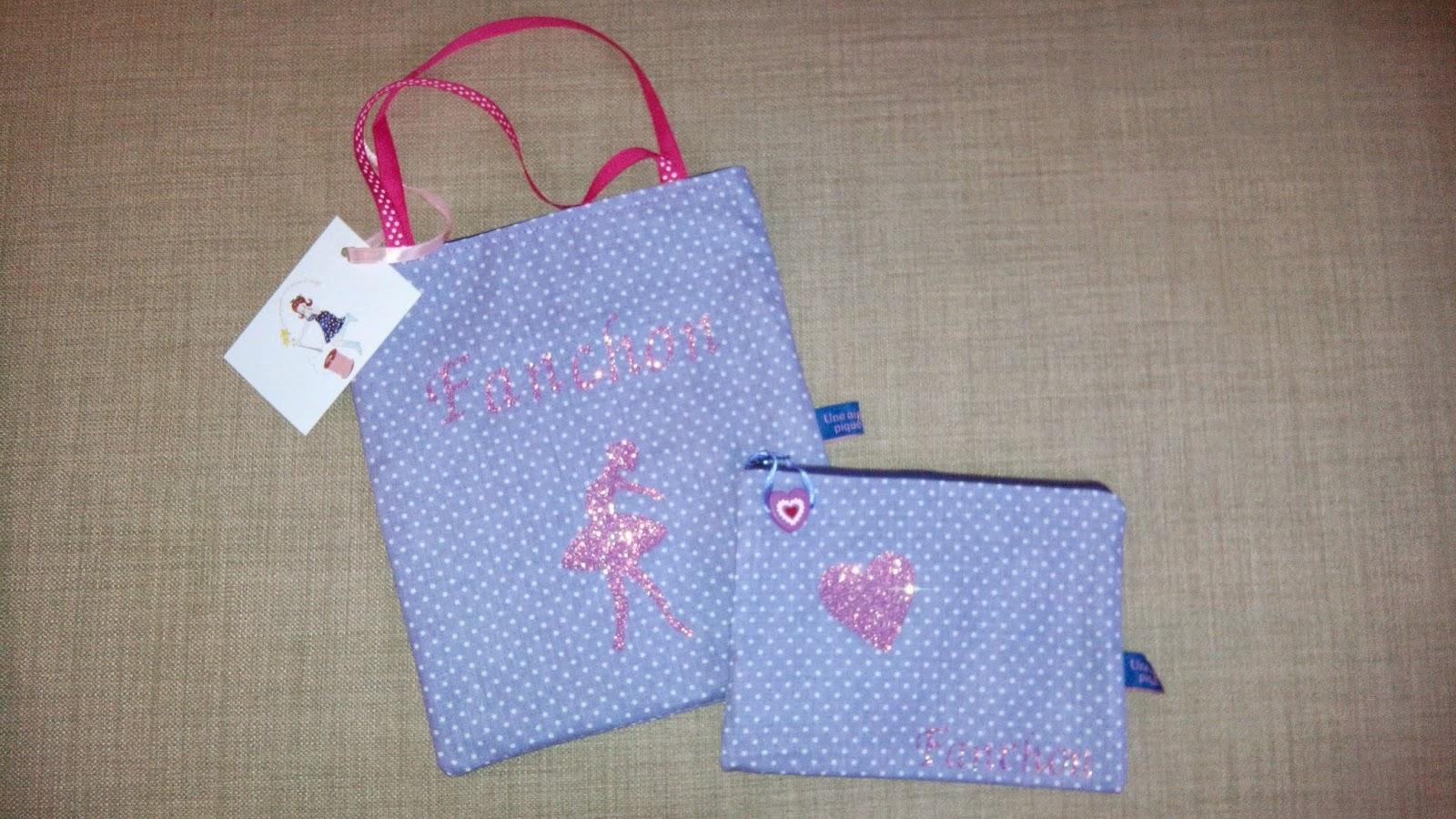 Couture tote bag et trousse personnalisé pour anniversaire