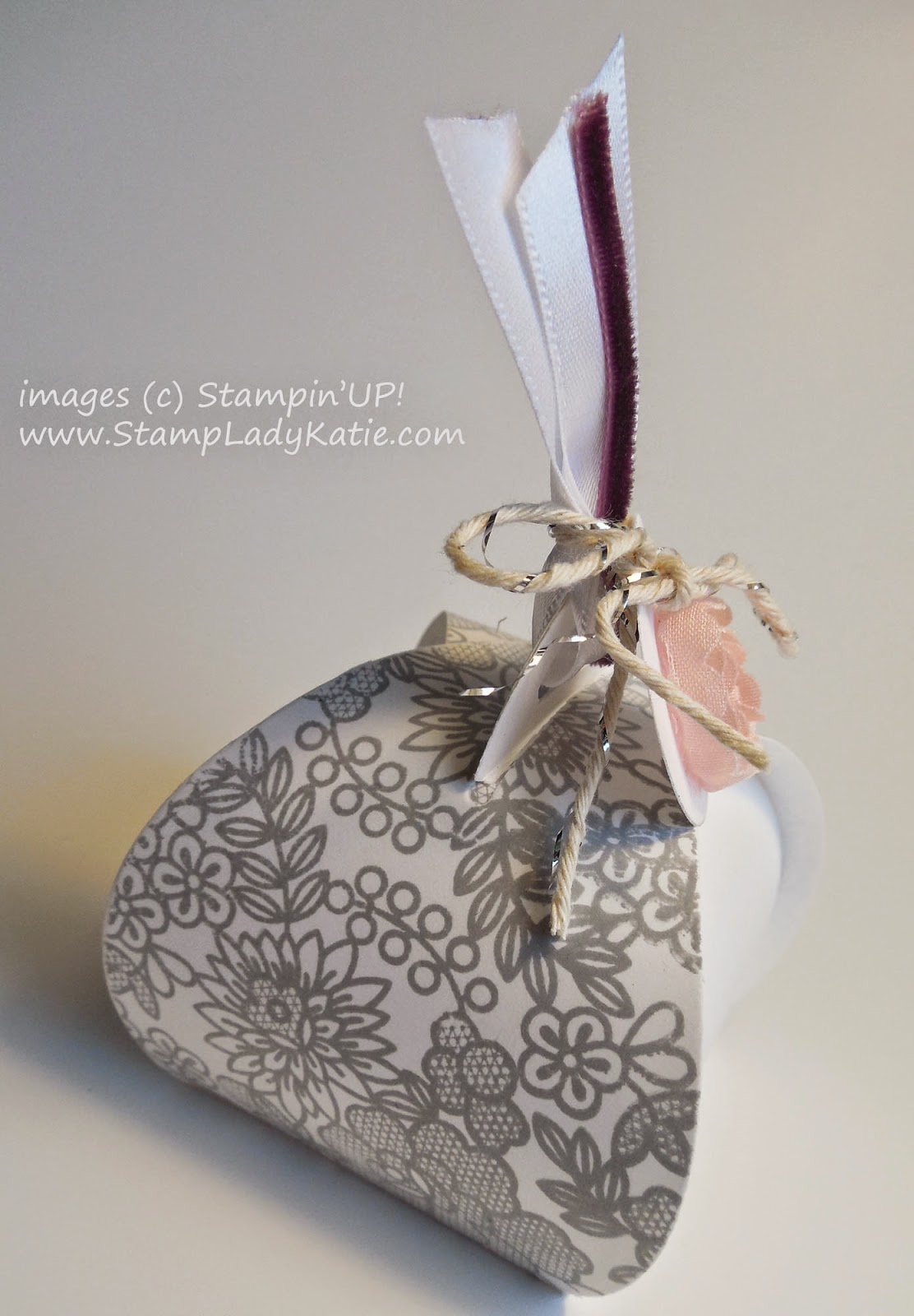 Table Favor for a wedding shower or baby shower made from Stampin'UP!'s Curvy Box Thinlet Die