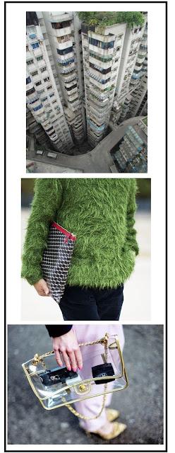 Composición fotográfica. Mirada área de edicicios. Detalle del jersey de una chica que parece hecho de césped. Bolso y pies de una mujer.