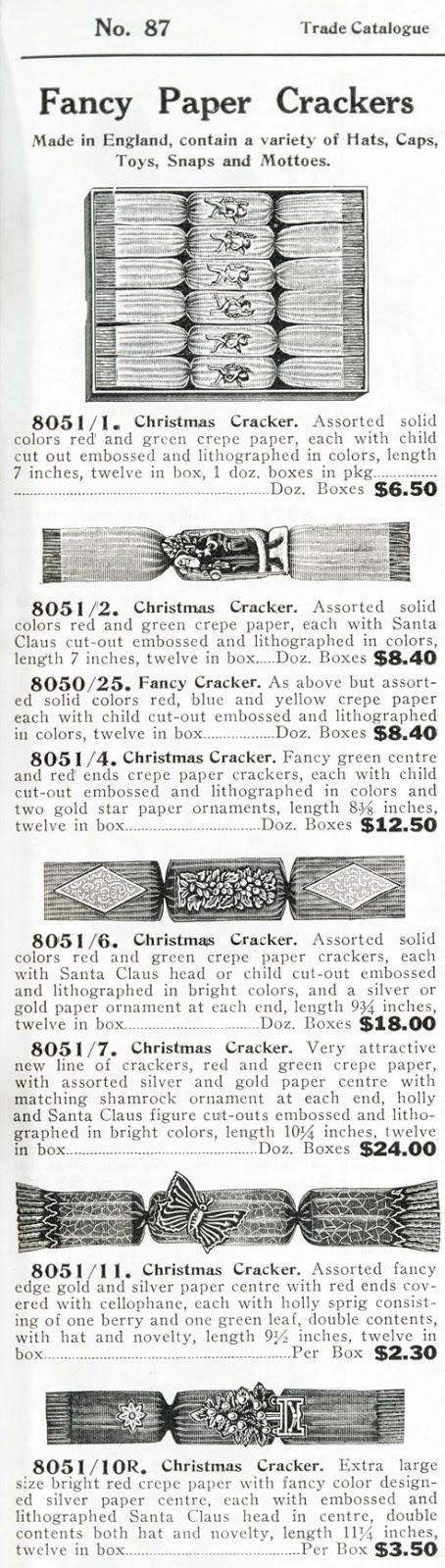 Christmas cracker advert from Nerlich Catalogue 1939