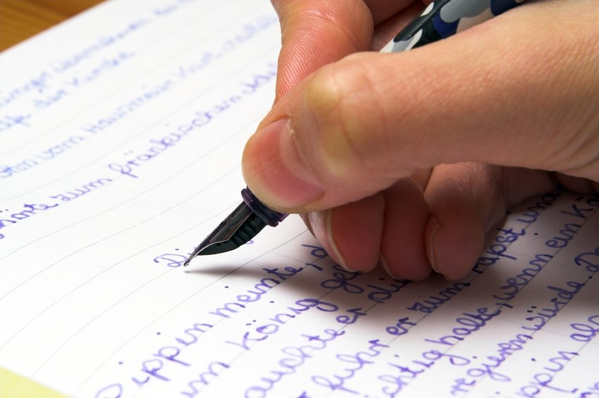 live person writing