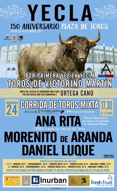 YECLA  (ESPAÑA)  24 SEPTIEMBRE 2017.150 ANIVERSARIO PLAZA DE TOROS.