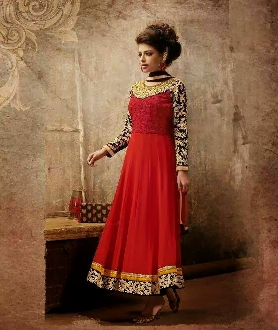 Brocade Work Mirchi Red Churidar