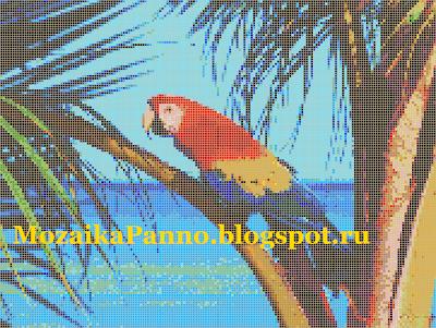 Картина из стеклянной мозаики «Дикий попугай»