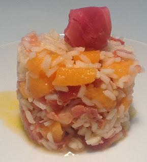 prosciutto e melone in insalata di riso