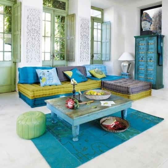 Salas color turquesa y verde colores en casa - Orientalische einrichtung ...