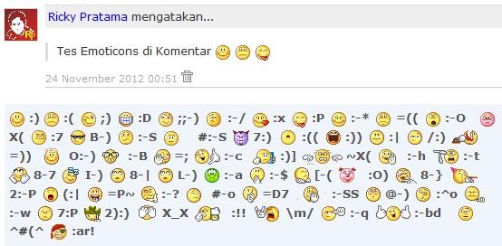 contoh tampilan emoticon smiley pada komentar blog