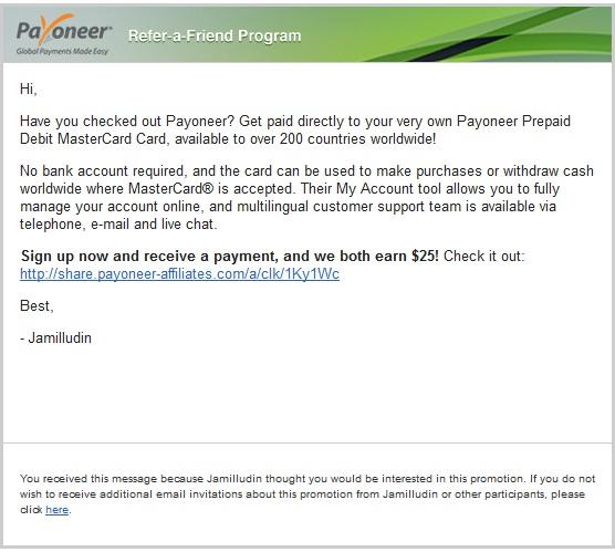 Mendapatkan $25 dari kartu prepaid mastercard payoneer
