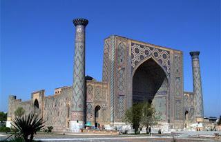 ulughbek ulugbek madrassah mirror minarets samarkand