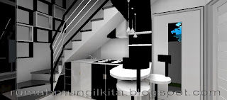 kitchen set mungil minimalis hitam putih di bawah tangga