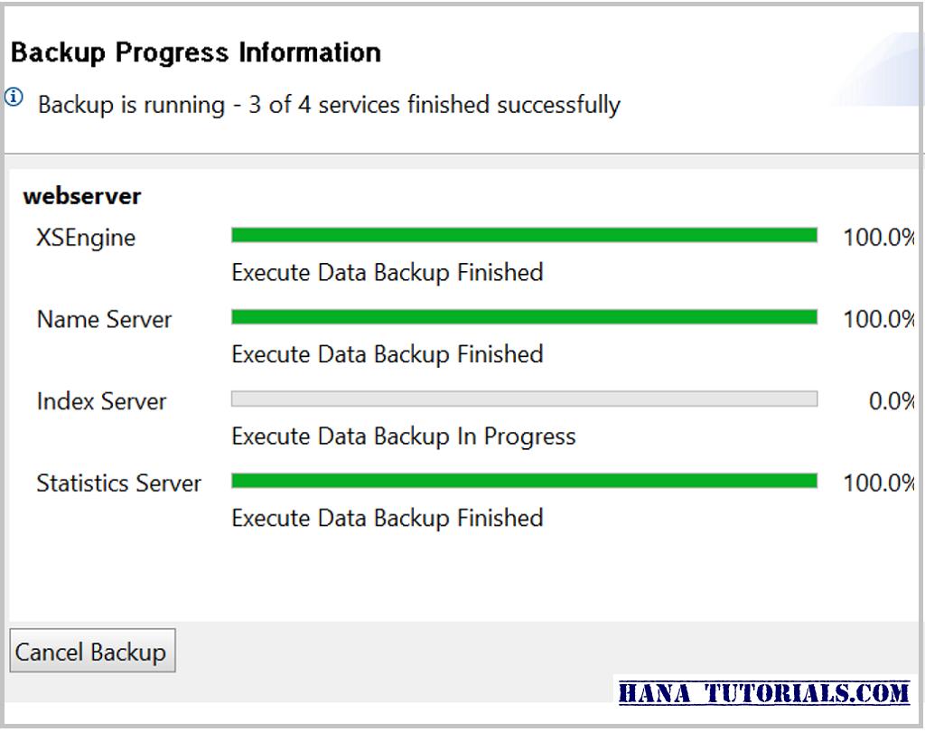 SAP HANA service backup status