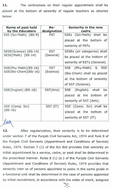 GOVERNMENT OF PUNJAB SCHOOL EDUCATION DEPARTMENT   NOTIFICATION NO. SO(SE-III)02-16/2007 (P-V) DATED: 10-08-2015