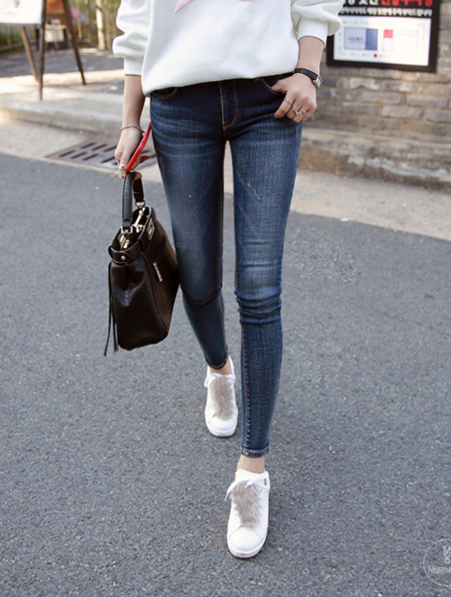 Faded Stone Washed Skinny Jeans