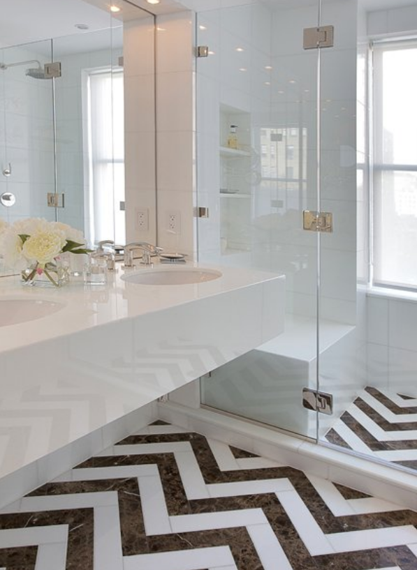 Popular Herringbone Tile Floor  Bathrooms  Pinterest