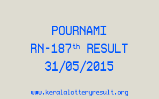 POURNAMI RN 187 Lottery Result 31-5-2015