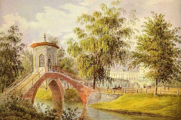 19 октября. Мейер И. Вид на крестовый мостик и Большой царскосельский дворец. Акварель