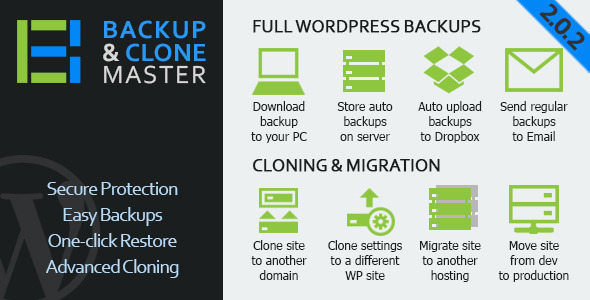 Free Download latest version of WordPress Backup & Clone Master V2.0.2 Wordpress Plugin