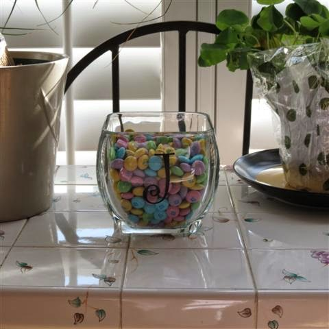 Monogrammed candy dish